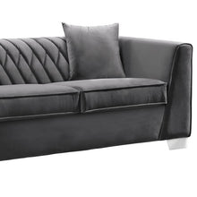 Load image into Gallery viewer, Cambridge Contemporary Loveseat in Brushed Stainless Steel and Dark Grey Velvet