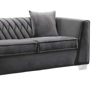 Cambridge Contemporary Loveseat in Brushed Stainless Steel and Dark Grey Velvet
