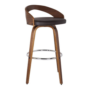 "Sonia 30"" Bar Height Barstool in Walnut Wood Finish with Brown Faux Leather"