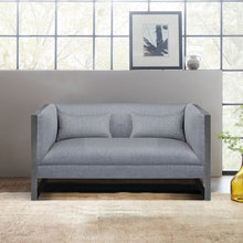 Load image into Gallery viewer, Royce Contemporary Loveseat with Polished Stainless Steel and Grey Fabric