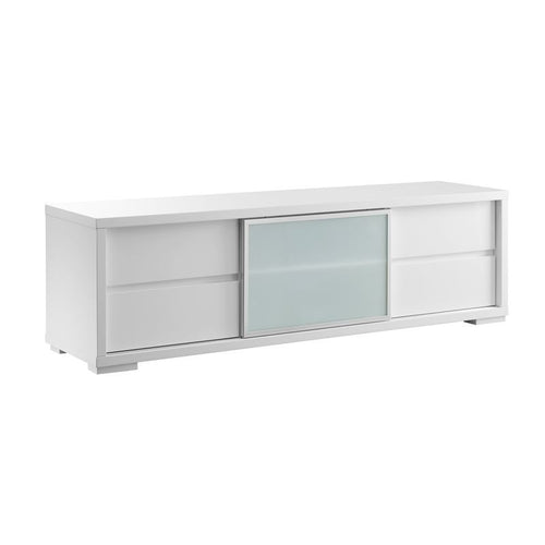 PINETO High Gloss White Lacquer Entertainment Center by Casabianca Home