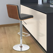 Load image into Gallery viewer, Aubrey Barstool Chrome Base finish with Black Faux Leather and Walnut Back