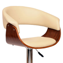 Load image into Gallery viewer, Paris Swivel Barstool In Cream PU/ Walnut Veneer and Chrome Base