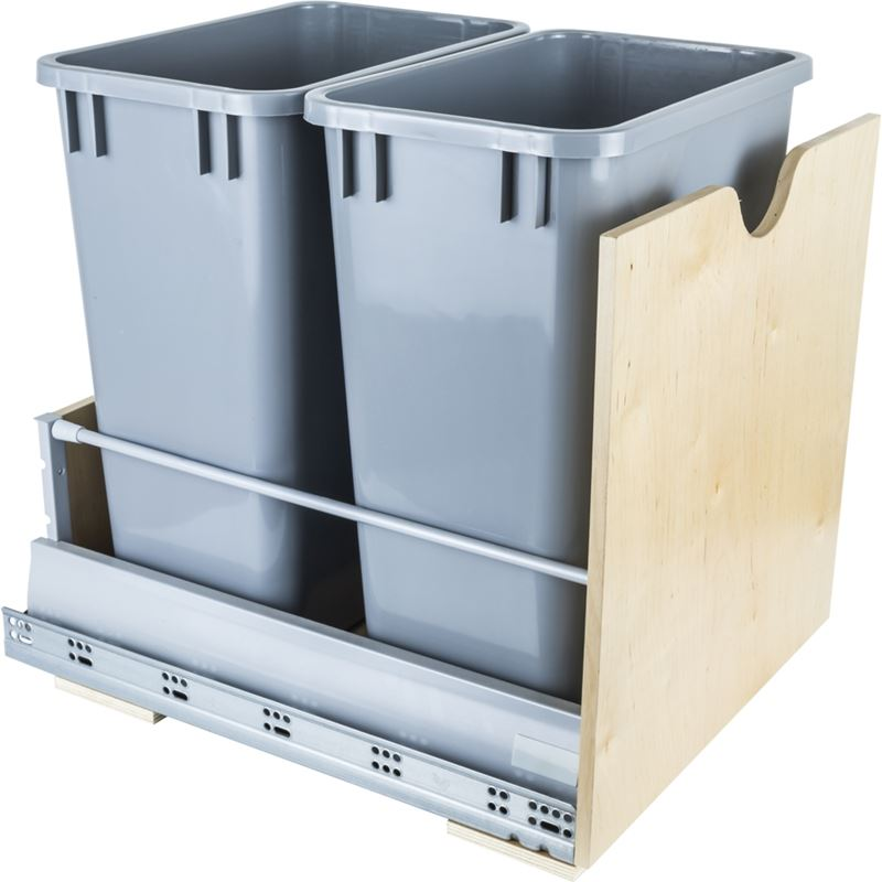 Preassembled 35-Quart Double Pullout Waste Container System.