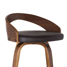 "Load image into Gallery viewer, Sonia 30"" Bar Height Barstool in Walnut Wood Finish with Brown Faux Leather"