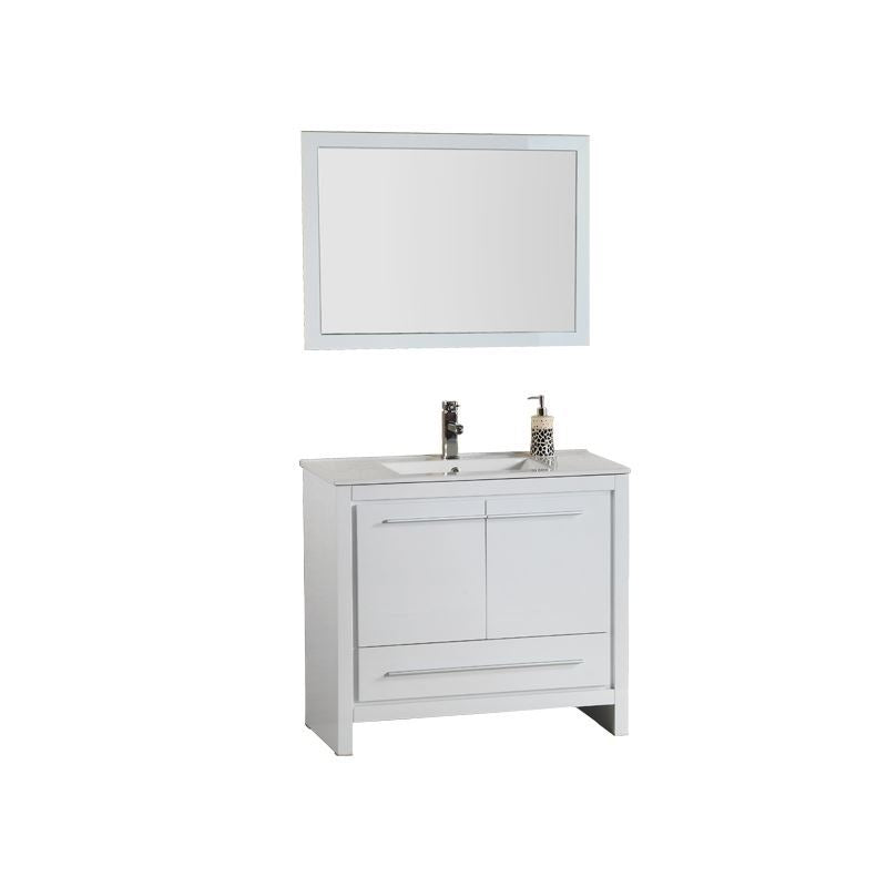 Adornus Alexa Vanity, High Gloss White, 36