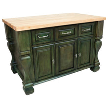 Load image into Gallery viewer, Hardware Resources ISL01 Kitchen Island, Aqua Green, TOP NOT INCLUDED