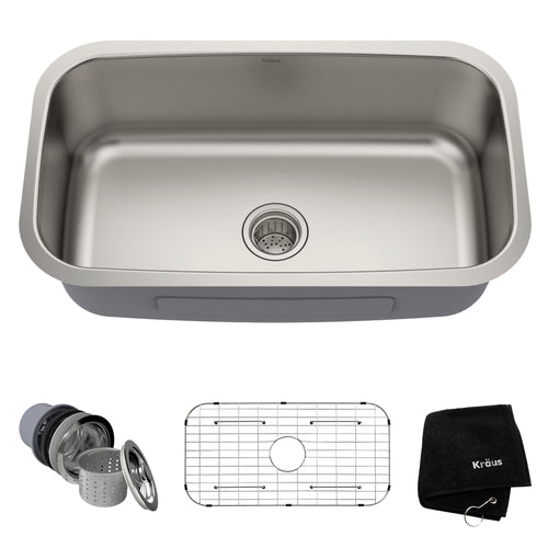 KRAUS Premier 31 ½-inch 16 Gauge Undermount Single Stainless Steel Kitchen Sink