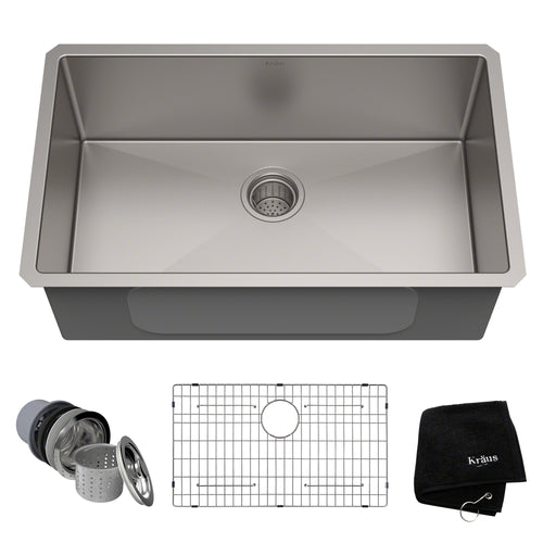KRAUS Standart PRO™ 30-inch 16 Gauge Undermount Single Bowl Stainless Steel Sink