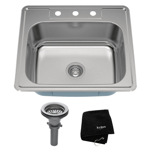 KRAUS 25 Inch Topmount Single Bowl 18 Gauge Stainless Sink with NoiseDefend™