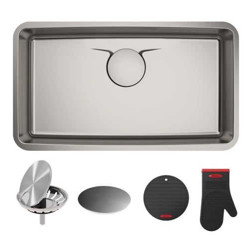 KRAUS Dex™ 33-Inch Undermount Single Stainless Sink in Radiant Pearl Finish