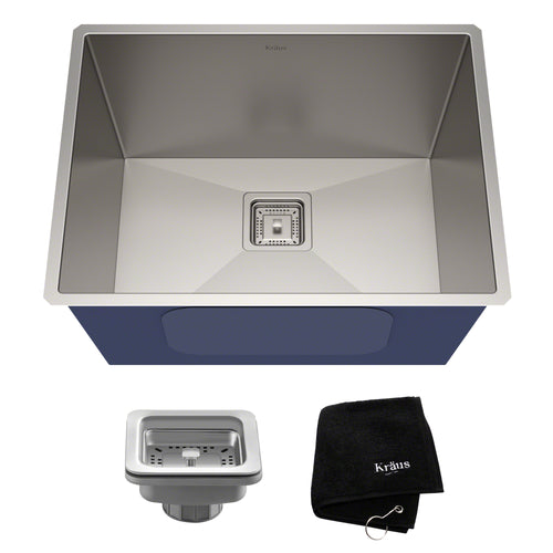 KRAUS Pax™ Zero-Radius 24-inch 18 Gauge Undermount Single Stainless Utility Sink