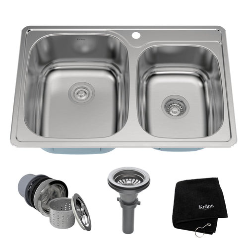KRAUS 33 Inch Topmount Double Bowl 18 Gauge Stainless Sink w NoiseDefend™