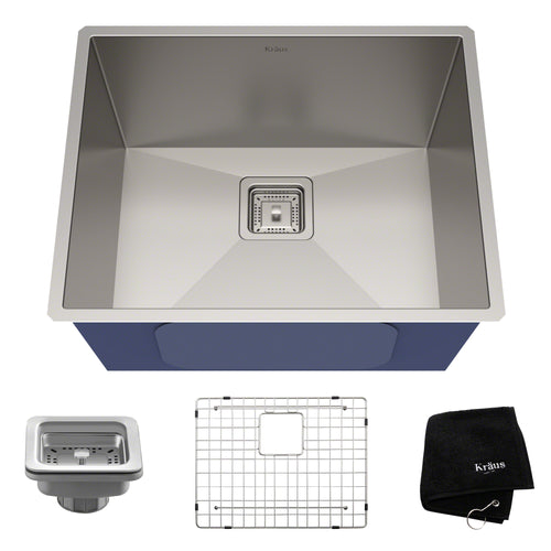 KRAUS Pax™ Zero-Radius 22 ½-inch 16 Gauge Undermount Single Bowl Stainless Sink