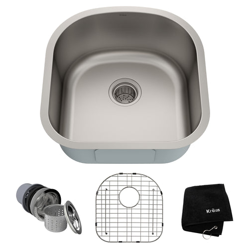 KRAUS Premier 20-inch 16 Gauge Undermount Single Bowl Stainless Kitchen Sink