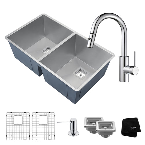 "KRAUS Combo Zero-Radius 31 ½"" Double Sink w Single Handle Pull Down Faucet"