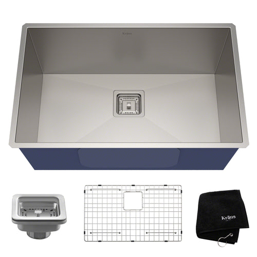 KRAUS Pax™ Zero-Radius 28 ½-inch 16 Gauge Undermount Single Bowl Stainless Sink