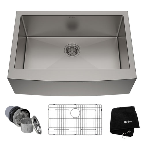KRAUS Standart PRO™ 30-inch 16 Gauge Single Bowl Stainless Steel Farmhouse Sink