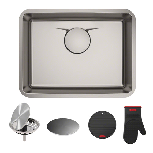 KRAUS Dex™ 25-Inch Undermount Single Stainless Sink in Radiant Pearl Finish