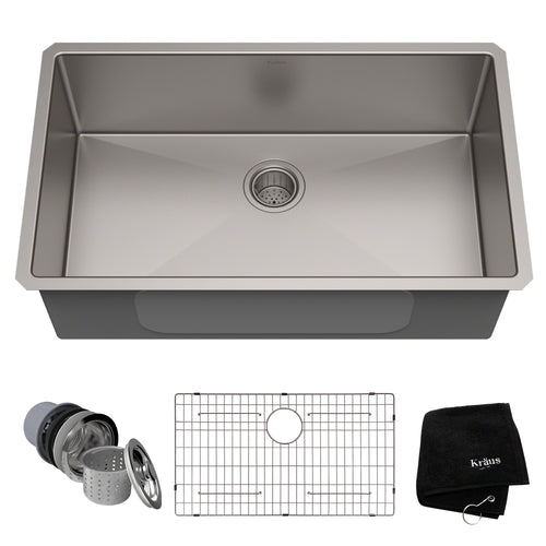 KRAUS Standart PRO™ 32-inch 16 Gauge Undermount Single Bowl Stainless Steel Sink