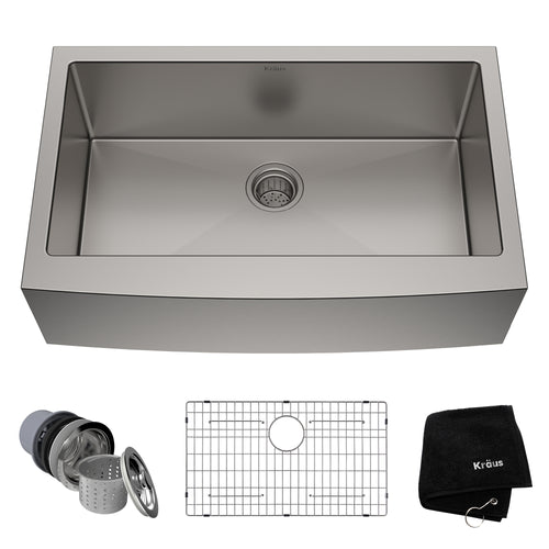KRAUS Standart PRO™ 33-inch 16 Gauge Single Bowl Stainless Steel Farmhouse Sink