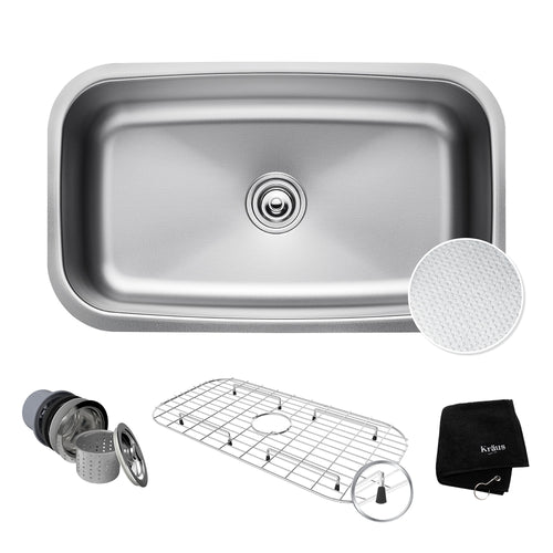 KRAUS Outlast MicroShield™ Scratch-Resist Stainless Undermount Single Sink 31.5