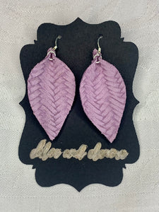 Lilac Fishtail Leather Earrings