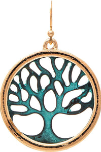 Tree of Life in Patina and Gold Earrings