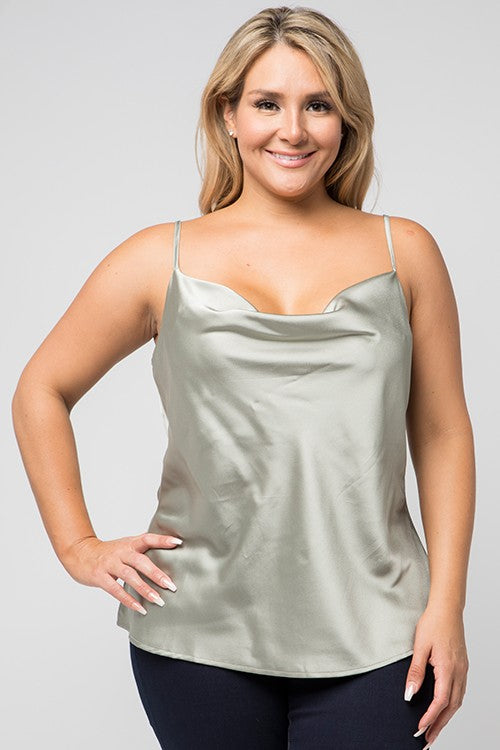Satin Cowl Neck Camisole in Ivory