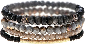 Charcoal Fire Stackable Stretch Bracelet Set