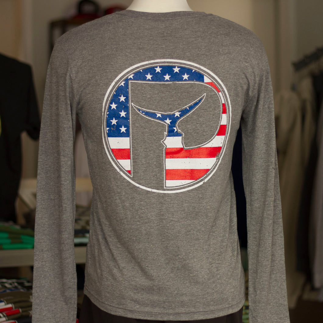 Mens USA Piscator Logo Long Sleeve T-Shirt