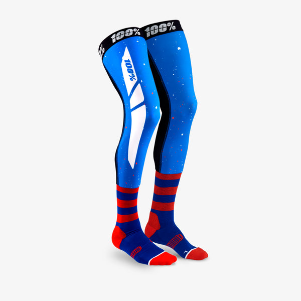 REV Knee Brace Performance Moto Socks Blue/Red