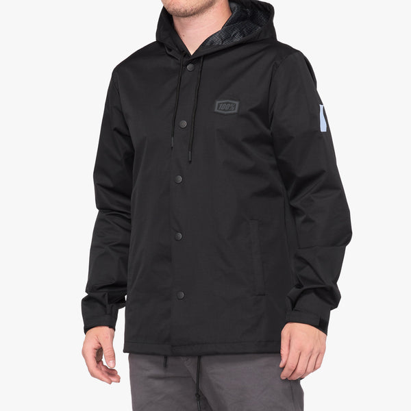 APACHE Hooded Snap Jacket - Black