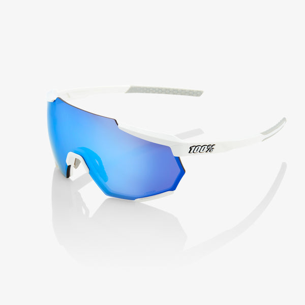RACETRAP - Matte White - HiPER Blue Multilayer Mirror Lens