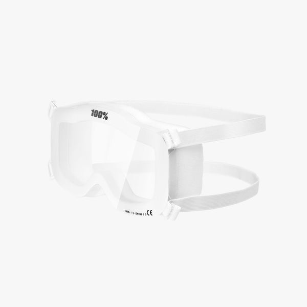 100% PPE Goggle White Clear Lens 10 Pack
