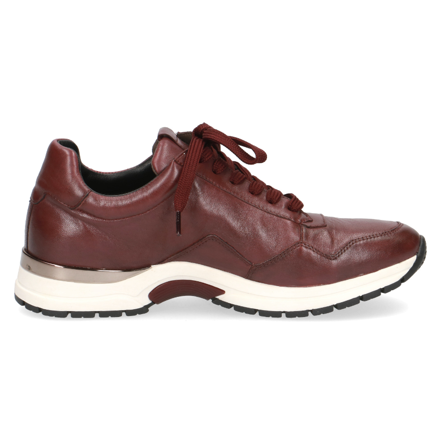 Women's Caprice Martha Trainer Zip Shoe Bordeaux Red Leather