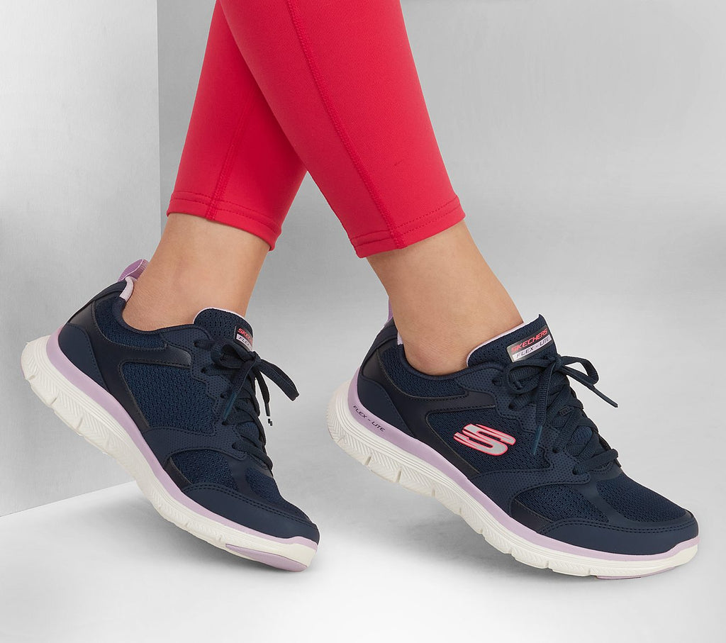 Women's Skechers Flex Appeal ACTIVE FLOW Trainer Shoe Navy Pink