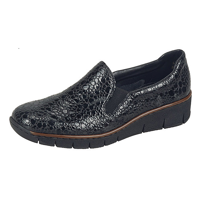 Women's Rieker Pisa Wedge Shoe Black Patent Bubble