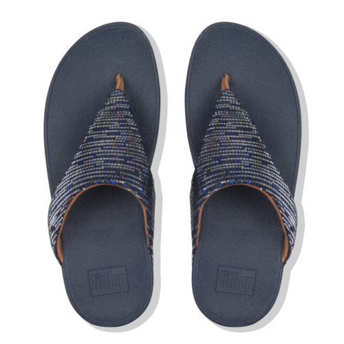 Women's FitFlop Lottie Chain Print Suede Toe-Thong Sandals Midnight Navy