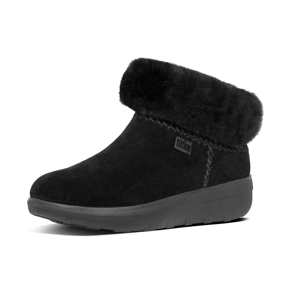 Womens FitFlop MUKLUK Shorty Ankle Boots Black
