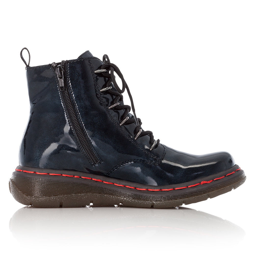 Women's Rieker Marty Patent Boot Dark Navy