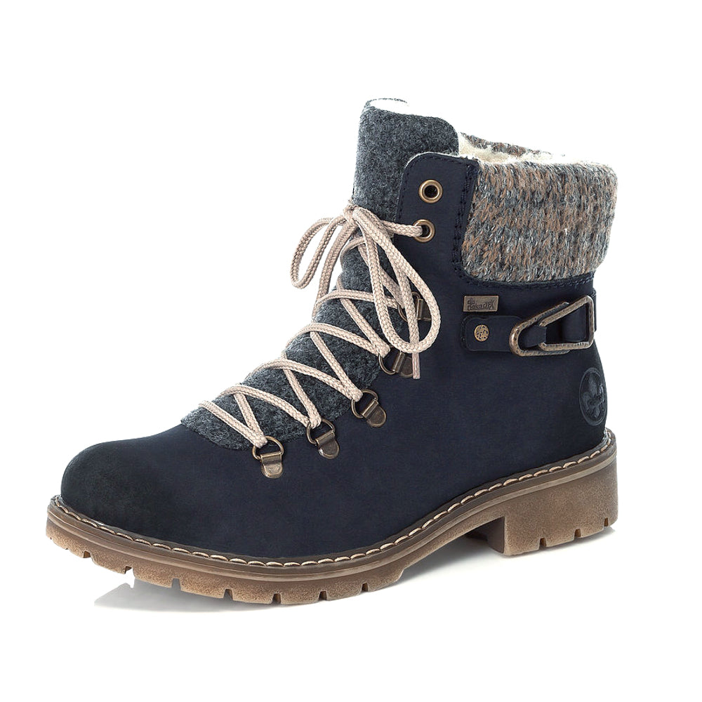 Women's Rieker Hike Lace Up Ankle Boot Dark Blue