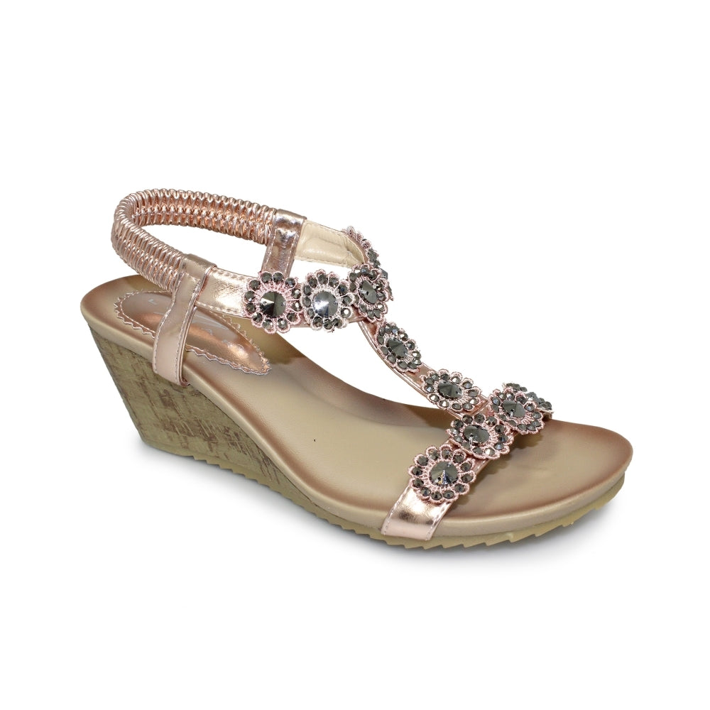 Women's Lunar Cally Wedge Sandal Rose Gold