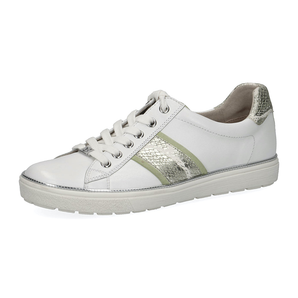 Women's Caprice Manou 2 Sneaker Shoe White Lime Silver