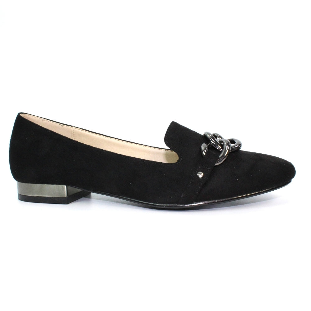 Women's Lunar Carys Slip On Chain Loafer Black
