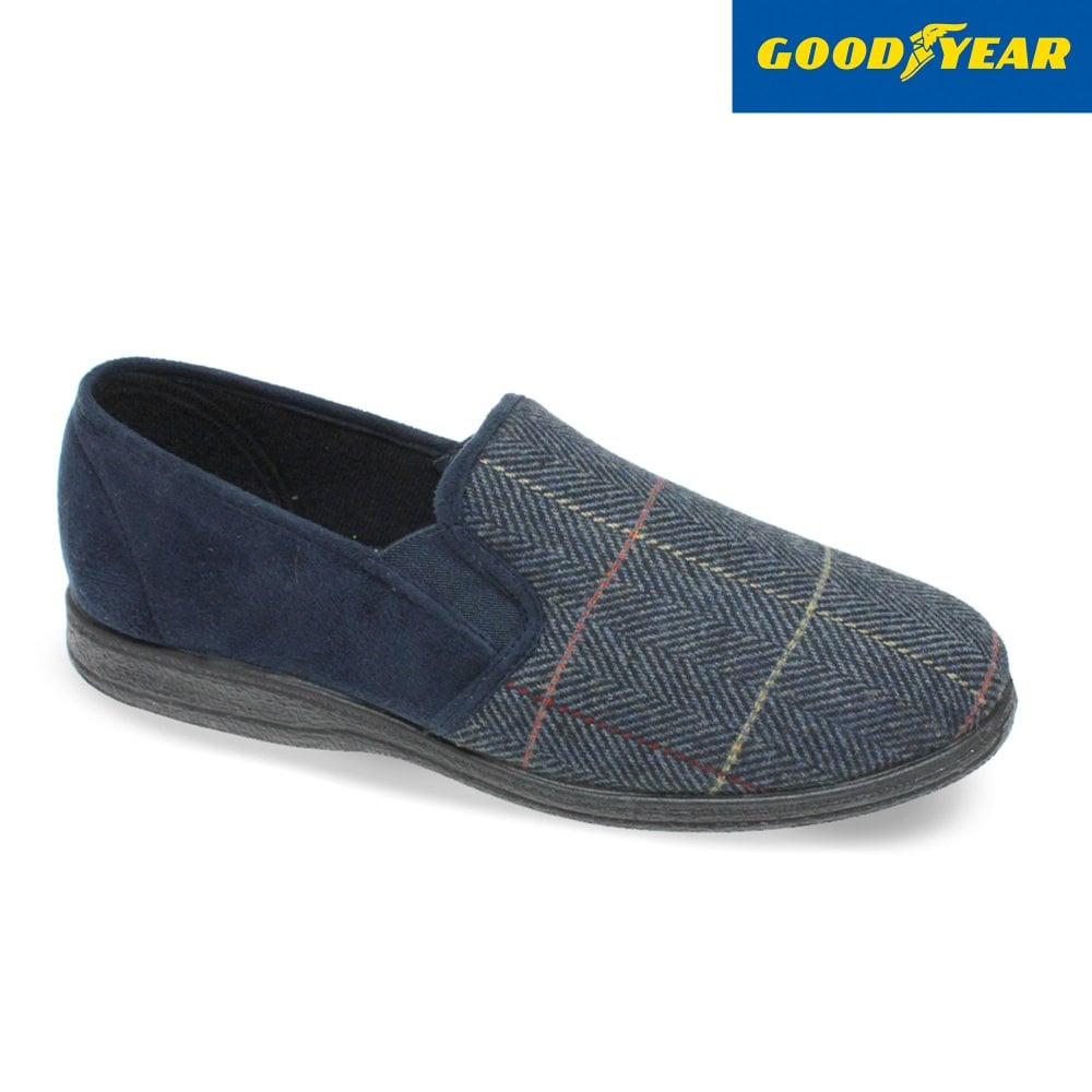 Men's Goodyear Harrison Fabric Slipper Navy Tweed