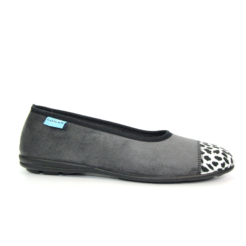 Women's Lunar Jessie Slipper Grey Leopard