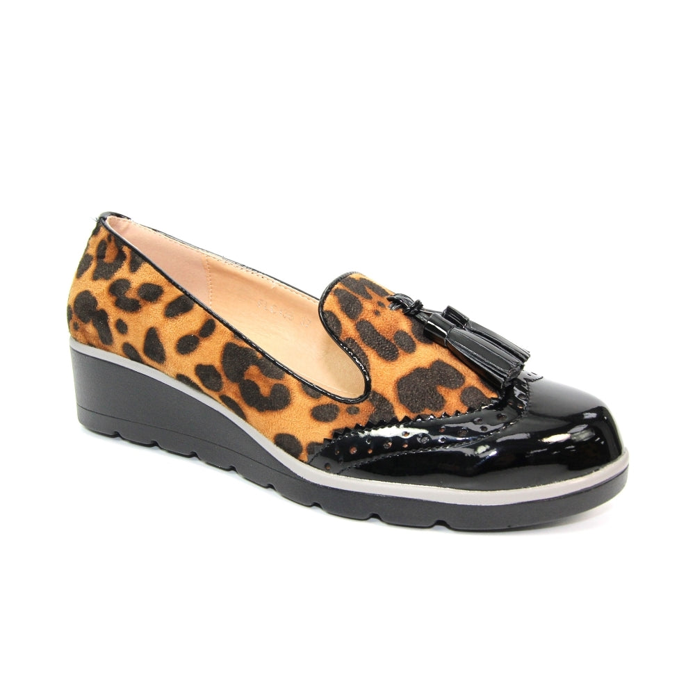 Women's Lunar Karina Slip On Tassel Loafer Leopard Print