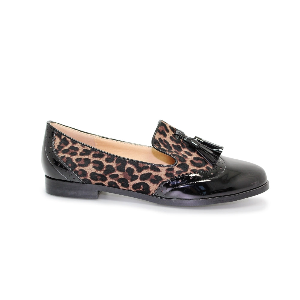 Women's Lunar Francine Slip On Loafer Black Leopard