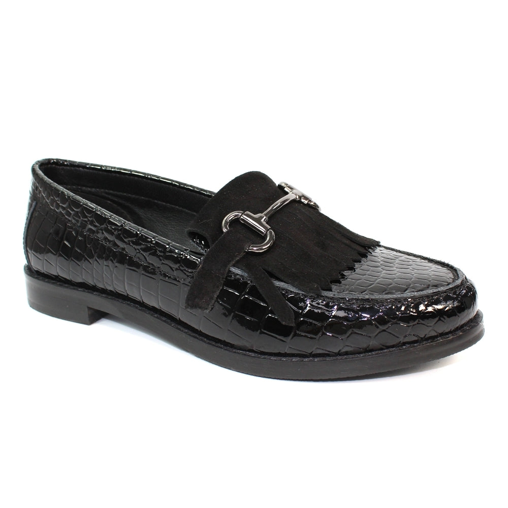 Women's Lunar Portofino Leather Loafer Black Patent